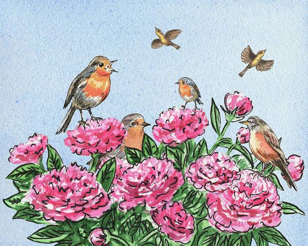 Painting - Happy Birds On Flowers by Irina Sztukowski