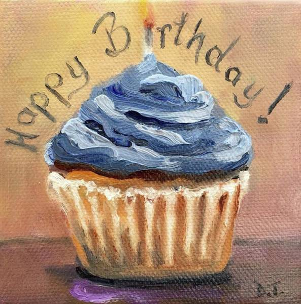 Painting - Happy Birthday Cupcake by Donna Tuten