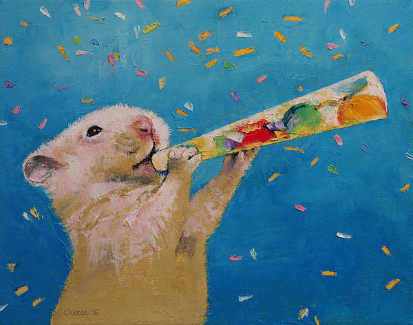 Wall Art - Painting - Happy Hamster New Year by Michael Creese
