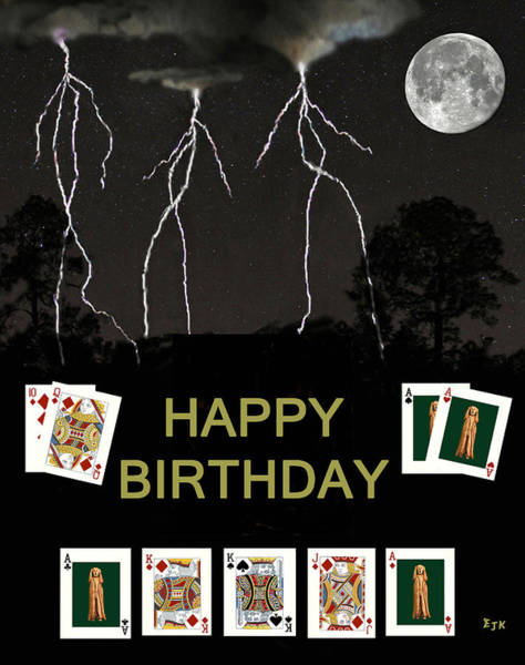 Macau Mixed Media - Happy Birthday Poker Cards by Eric Kempson