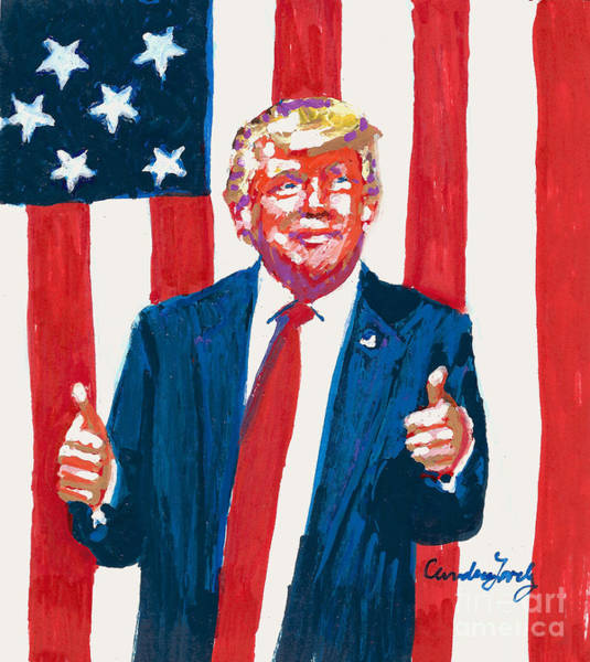 Thumb Painting - Happy Birthday President Trump by Candace Lovely