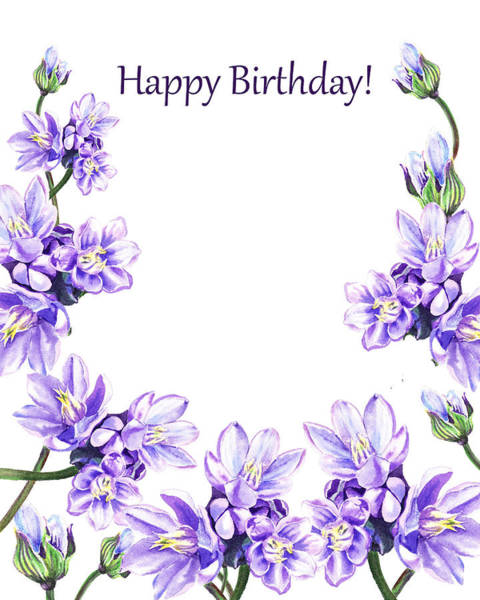Painting - Happy Birthday Purple Flowers by Irina Sztukowski