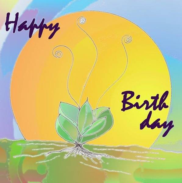 Drawing - Happy Birthday Sun Plant by Julia Woodman