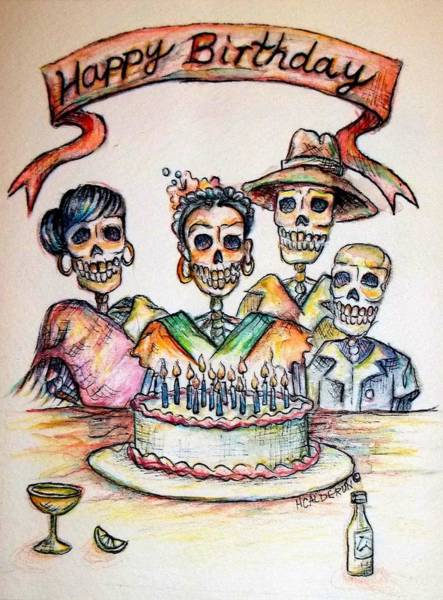 Cakes Painting - Happy Birthday Woman Skull by Heather Calderon