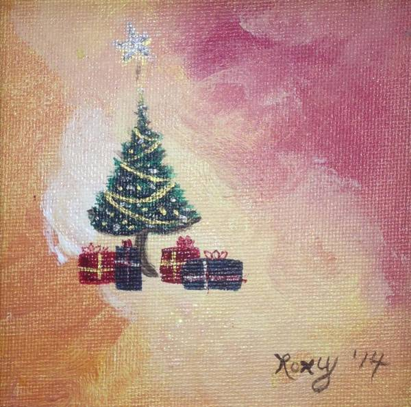 Tree Painting - Happy Christmas by Roxy Rich