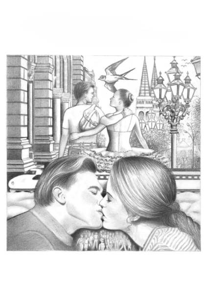 Beautiful Park Drawing - Happy Couple  by Mira Ostojic