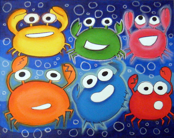 Morea Wall Art - Painting - hAppY cRAbS by Mara Morea