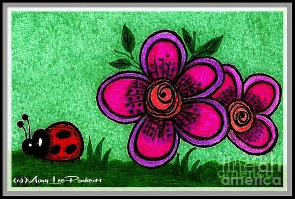 Lady Bug Drawing - Happy Day by MaryLee Parker