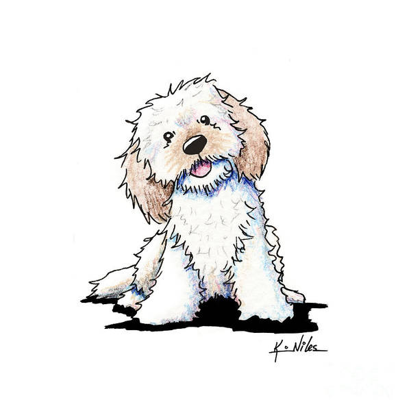 Wall Art - Drawing - Happy Doodle Puppy by Kim Niles