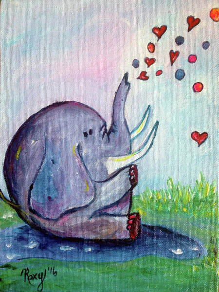 Animal Painting - Happy Elephant by Roxy Rich
