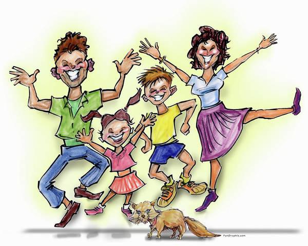Digital Art - Happy Family Illustration by Kevin Middleton