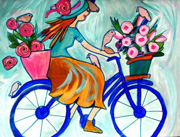 Painting - Happy Flower Lady by Nikki Dalton