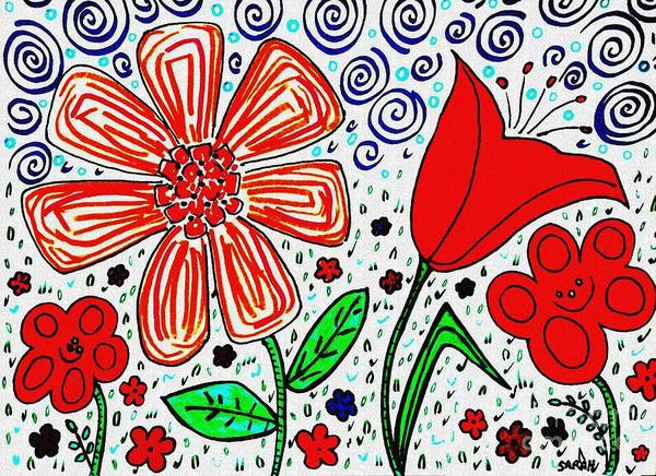 Garden Wall Drawing - Happy Flowers by Sarah Loft