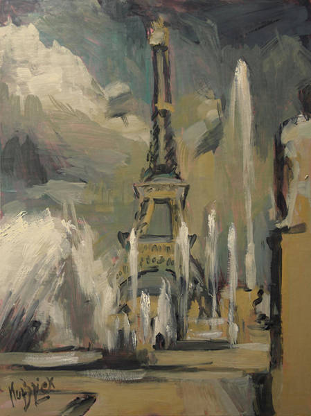 Wall Art - Painting - Happy Fountains At Trocadero by Nop Briex