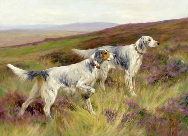 Mixed Media - Happy Four Paws English Setters by Isabella Howard