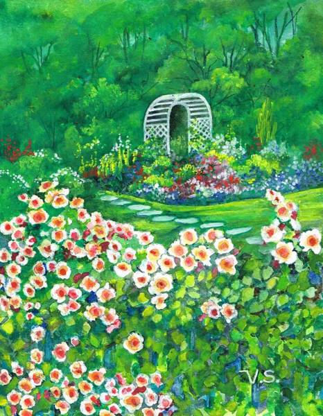 Painting - Happy Garden by Val Stokes