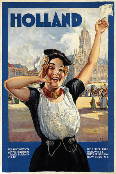 Kunst Wall Art - Painting - Happy Girl In Traditional Dutch Attire - Vintage Travel Poster From Holland by Studio Grafiikka