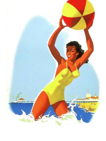 Wall Art - Painting - Happy Girl In Yellow Swimsuit Holding A Beach Ball by Long Shot