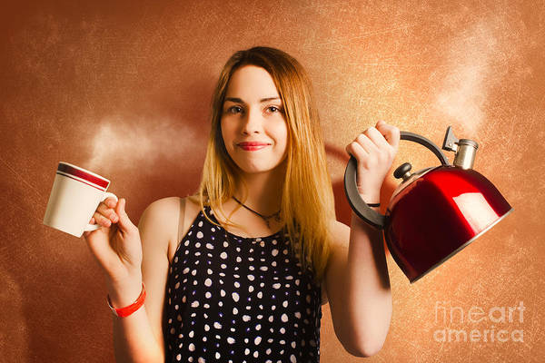 Wake Up Photograph - Happy Girl Serving Up Hot Coffee Beverage by Jorgo Photography - Wall Art Gallery