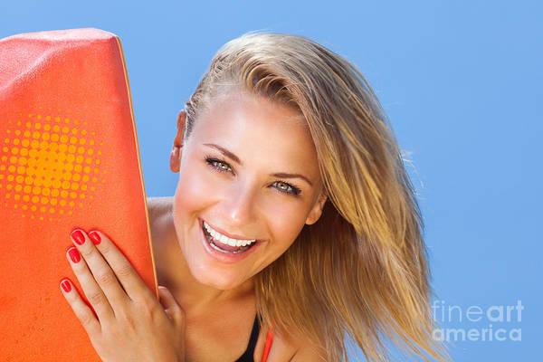 Bodyboard Photograph - Happy Girl Surfer by Anna Om