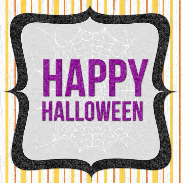 Stripe Mixed Media - Happy Halloween-art By Linda Woods by Linda Woods