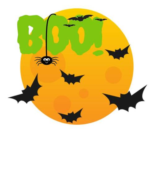 Trick Or Treat Drawing - Happy Halloween Boo Full Moon Bats And Spider by Kanig Designs