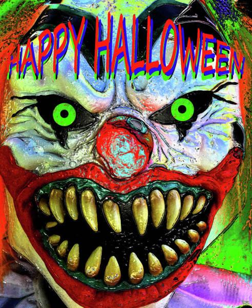 Wall Art - Painting - Happy Halloween Custom Clown Card by David Lee Thompson