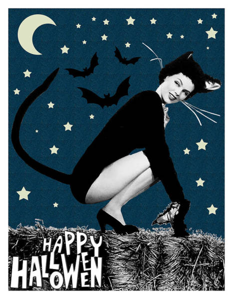 Night Mixed Media - Happy Halloween From Cute Cat Woman by Long Shot