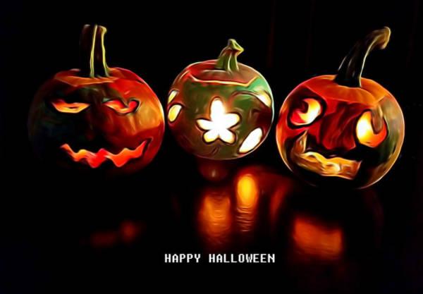 Mixed Media - Happy Halloween Pumpkins by Pamela Walton
