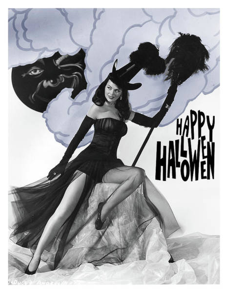 Happy Mixed Media - Happy Halloween Witch Posing In Photo Studio by Long Shot