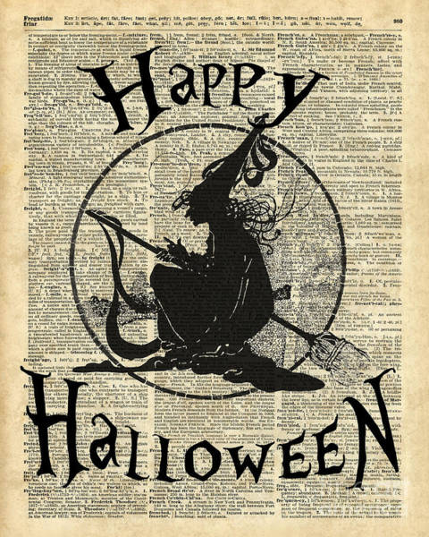 Wall Art - Digital Art - Happy Halloween Witch With Broom Dictionary Artwork by Anna W