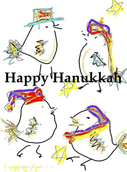 Sketch Holiday Photograph - Happy Hanukkah Bird Card by Kathy Barney