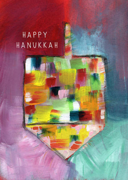Card Painting - Happy Hanukkah Dreidel Of Many Colors- Art By Linda Woods by Linda Woods
