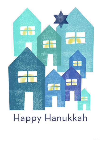 Jewish Art Wall Art - Mixed Media - Happy Hanukkah Houses- Art By Linda Woods by Linda Woods