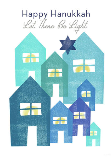 Jewish Art Wall Art - Mixed Media - Happy Hanukkah Light - Art By Linda Woods by Linda Woods
