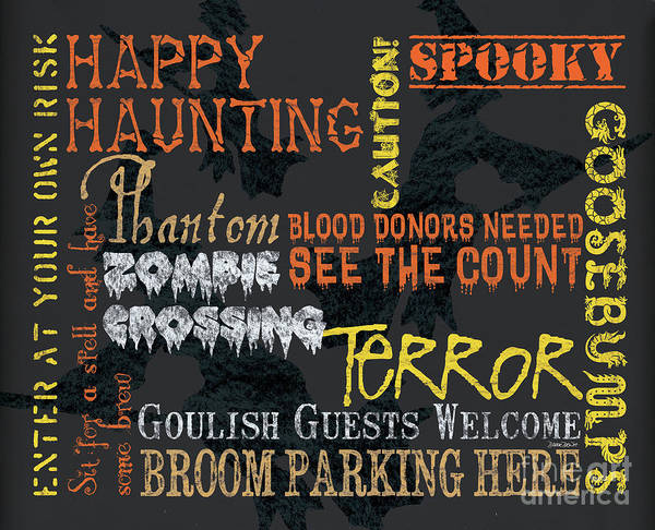 Gloomy Wall Art - Painting - Happy Haunting Typography by Debbie DeWitt