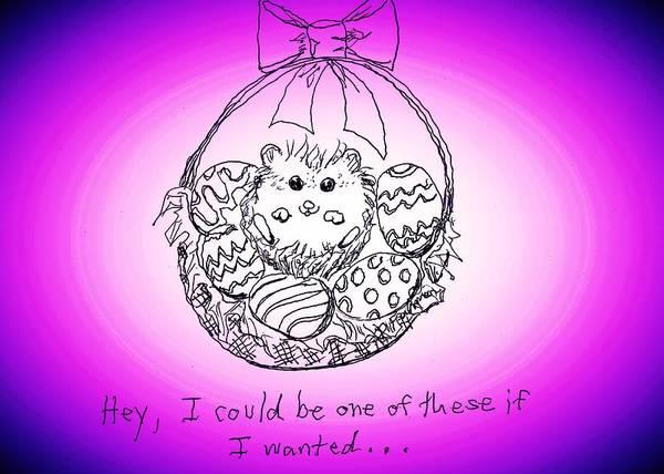 Drawing - Happy Hedgehog Easter by Denise F Fulmer