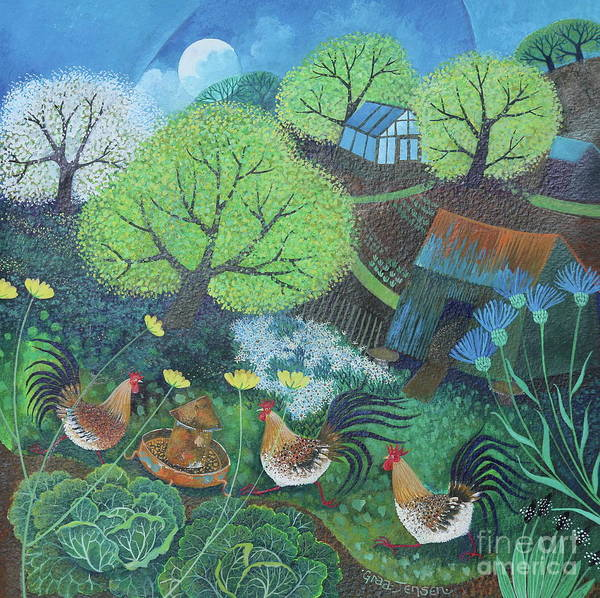 Allotment Wall Art - Painting - Happy Hens by Lisa Graa Jensen