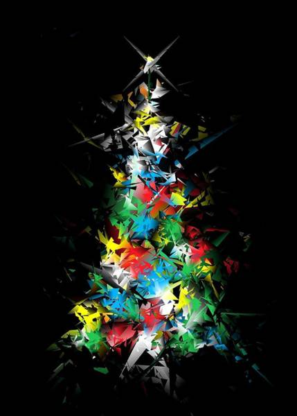 Digital Art - Happy Holidays - Abstract Tree - Vertical by Ludwig Keck