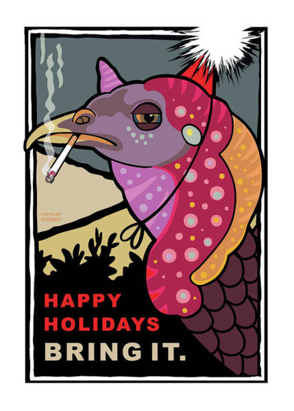 Turkey Digital Art - Happy Holidays by Caroline Barnes