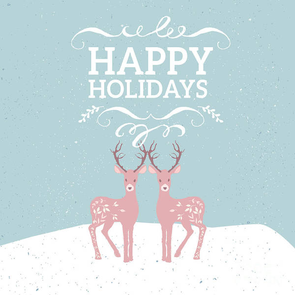 Photograph - Happy Holidays Pink Deer by Pam  Holdsworth