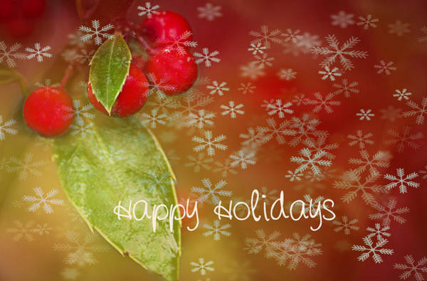 Red Berry Photograph - Happy Holidays by Rebecca Cozart
