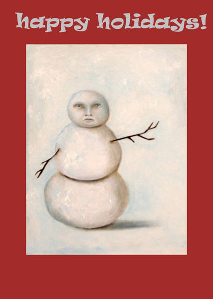 Painting - Happy Holidays Snowman by Leah Saulnier The Painting Maniac
