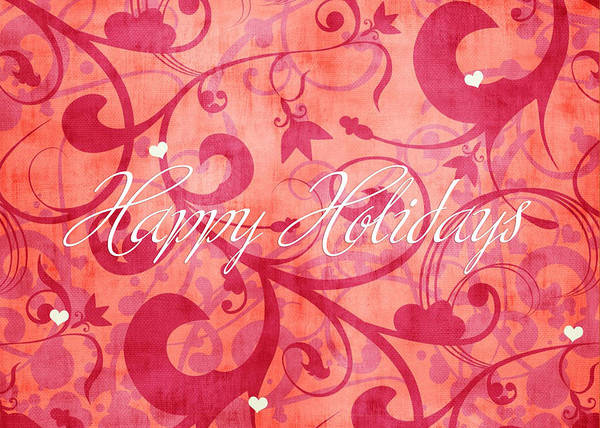 Xmas Digital Art - Happy Holidays Swirly Background by Maggie Terlecki