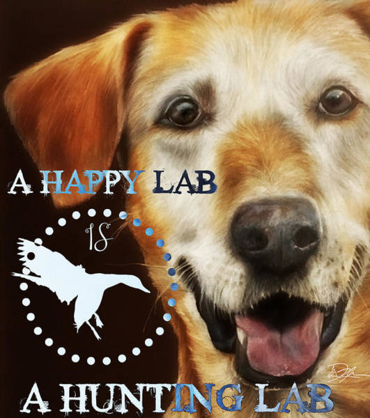 Yellow Lab Mixed Media - Happy Lab by Danielle Rosalie Pellicci