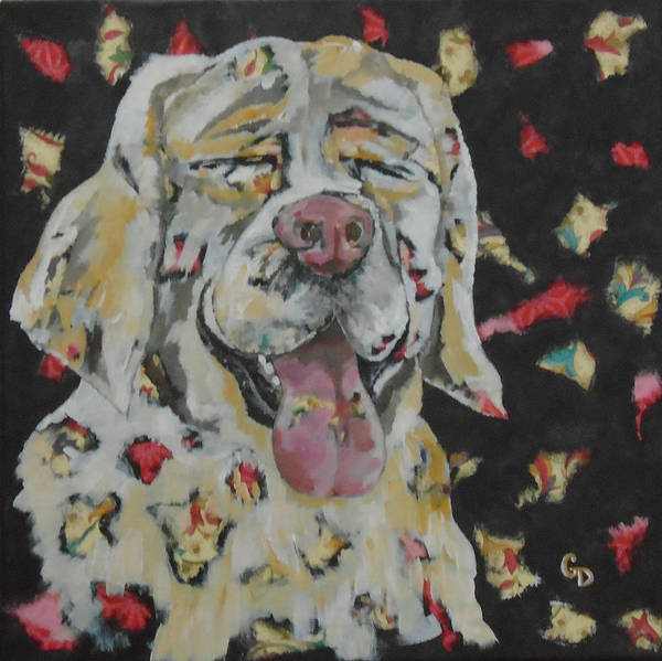 Yellow Lab Mixed Media - Happy Lab by Georgia Donovan