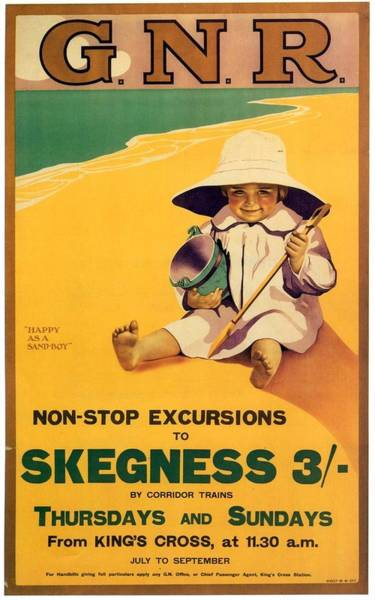Happy Boy Painting - Happy Little Boy Playing On The Beach In Skegness - Great Northern Railway - Vintage Poster by Studio Grafiikka