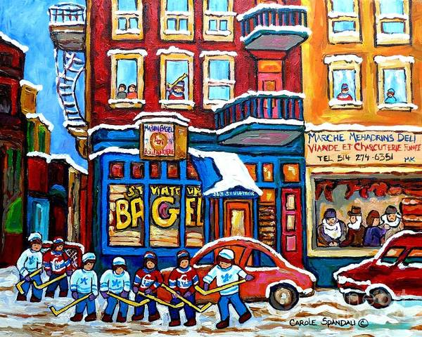 Painting - Happy Montreal Winter Scene Rue St Viateur Hockey Art Scene Bagel And Deli Shops Carole Spandau      by Carole Spandau