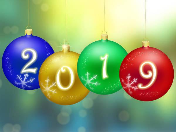 Bauble Digital Art - Happy New Year 2019 by Miroslav Nemecek