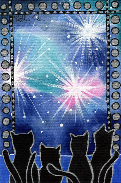 Painting - Happy New Year Black Cat Card by Dora Hathazi Mendes